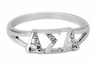 Alpha Sigma Alpha Sterling Silver Ring set with Lab-Created Diamonds