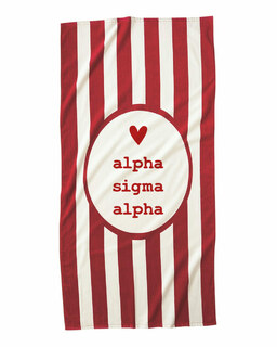 Alpha Sigma Alpha Striped Beach Towel