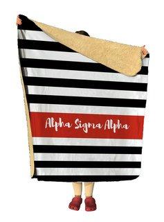 Alpha Sigma Alpha Stripes Sherpa Lap Blanket
