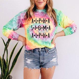 Alpha Sigma Alpha Tie-Dye Minty Rainbow Long-Sleeve T-Shirt