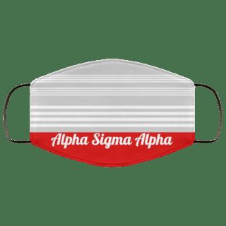 Alpha Sigma Alpha Two Tone Stripes Face Mask