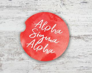 Alpha Sigma Alpha Watercolor Sandstone Car Cup Holder Coaster