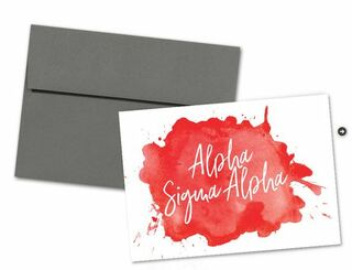 Alpha Sigma Alpha Watercolor Script Notecards(6)