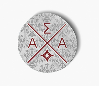 Alpha Sigma Alpha Well Balanced Round Decals