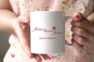 Alpha Sigma Alpha White Mascot Coffee Mug