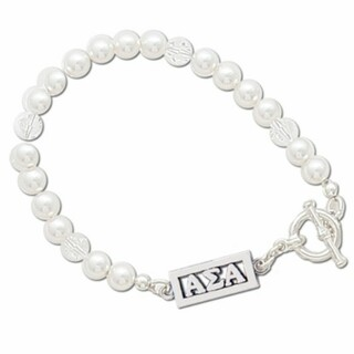 Alpha Sigma Alpha White Pearl & Clear Bracelet