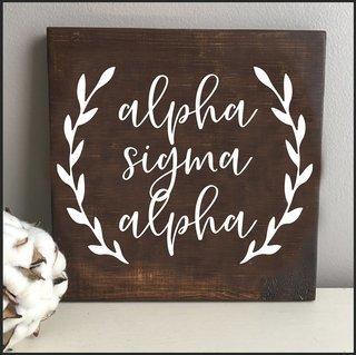 Alpha Sigma Alpha Wooden Wall Art