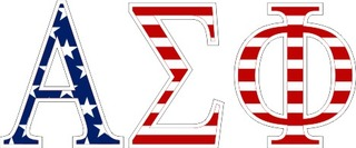 "Alpha Sigma Phi American Flag Greek Letter Sticker - 2.5"" Tall"