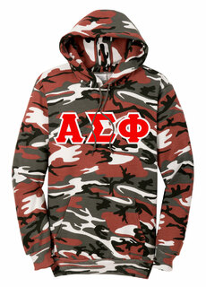 DISCOUNT-Alpha Sigma Phi Camo Pullover Hooded Sweatshirt