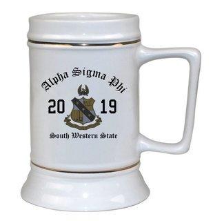 Alpha Sigma Phi Ceramic Crest & Year Ceramic Stein Tankard - 28 ozs!