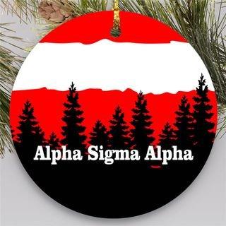 Alpha Sigma Phi Christmas Mountains Round Ornaments