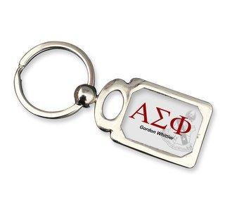 Alpha Sigma Phi Chrome Crest Key Chain