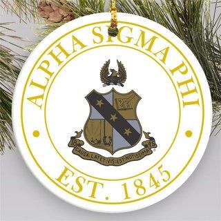 Alpha Sigma Phi Circle Crest Round Ornaments