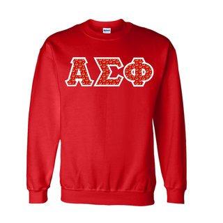 Alpha Sigma Phi Fraternity Crest - Shield Twill Letter Crewneck Sweatshirt