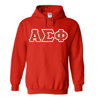 Alpha Sigma Phi Fraternity Crest - Shield Twill Letter Hooded Sweatshirt