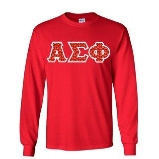 Alpha Sigma Phi Fraternity Crest - Shield Twill Letter Longsleeve Tee