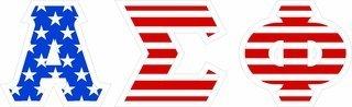 "Alpha Sigma Phi Giant 4"" American Flag Greek Letter Sticker"