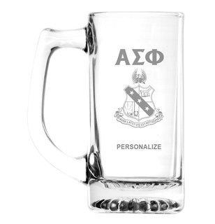 Alpha Sigma Phi Glass Engraved 25 Ounce Mug