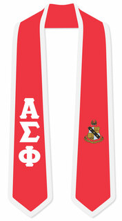 DISCOUNT-Alpha Sigma Phi Greek 2 Tone Lettered Graduation Sash Stole