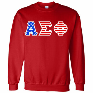 Alpha Sigma Phi Greek Letter American Flag Crewneck
