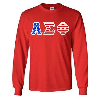 Alpha Sigma Phi Greek Letter American Flag long sleeve tee