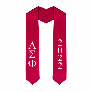 Alpha Sigma Phi Greek Lettered Graduation Sash Stole With Year - Best Value