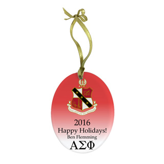 Alpha Sigma Phi Holiday Color Crest - Shield Glass Ornament