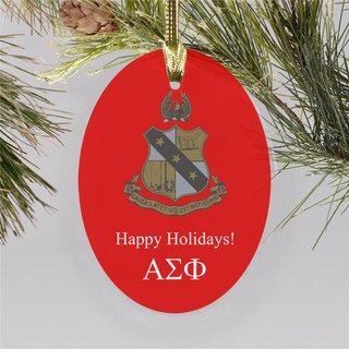 Alpha Sigma Phi Holiday Color Crest - Shield Ornament