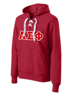 DISCOUNT-Alpha Sigma Phi Lace Up Pullover Hooded Sweatshirt