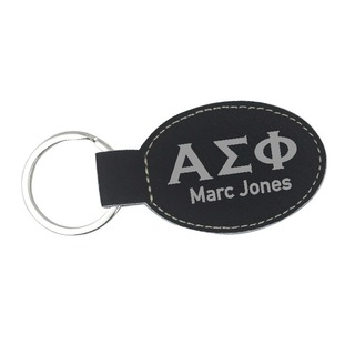 Alpha Sigma Phi Leatherette Oval Keychain