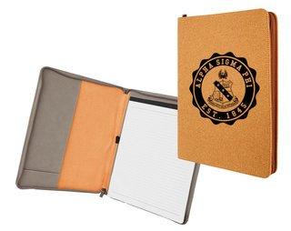 Alpha Sigma Phi Leatherette Zipper Portfolio with Notepad