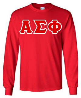 Alpha Sigma Phi Lettered Long Sleeve Tee- MADE FAST!