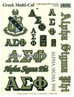 Alpha Sigma Phi Multi Greek Decal Sticker Sheet