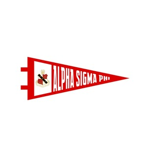 """Alpha Sigma Phi Pennant Decal 4"""" Wide"""