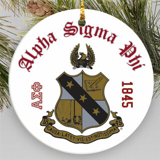 Alpha Sigma Phi Round Christmas Shield Ornament