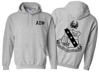 Alpha Sigma Phi World Famous Crest - Shield Hooded Sweatshirt- $35!