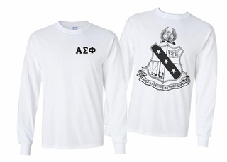 Alpha Sigma Phi World Famous Crest Long Sleeve T-Shirt- MADE FAST!