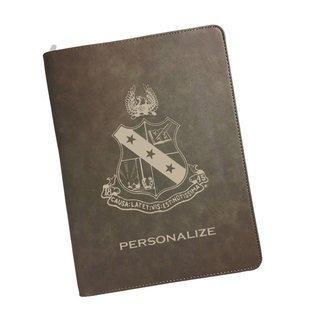 Alpha Sigma Phi Zipper Leatherette Portfolio with Notepad