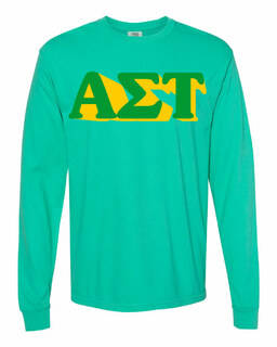 Alpha Sigma Tau 3 D Greek Long Sleeve T-Shirt - Comfort Colors
