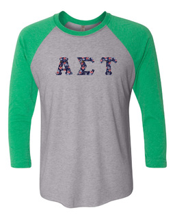 Alpha Sigma Tau Unisex Tri-Blend Three-Quarter Sleeve Baseball Raglan Tee