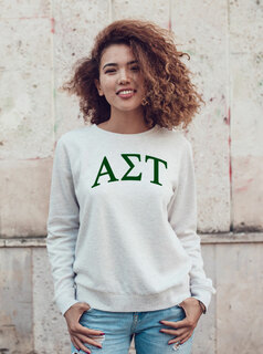 Alpha Sigma Tau Arched Greek Lettered Crewneck Sweatshirt