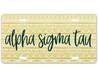 Alpha Sigma Tau Aztec License Plate