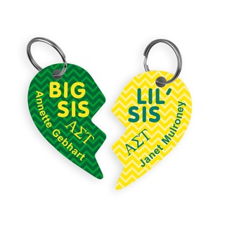 Alpha Sigma Tau Big & Little Heart Halve Key Chains (2)