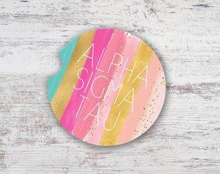 Alpha Sigma Tau Bright Stripes Sandstone Car Cup Holder Coaster
