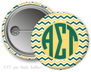 Alpha Sigma Tau Chevron Monogram Button