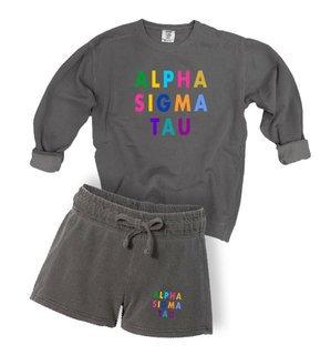 Alpha Sigma Tau Comfort Colors Crew and Short Set