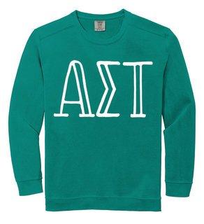 Alpha Sigma Tau Comfort Colors Greek Crewneck Sweatshirt