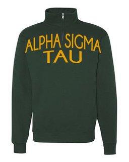 Alpha Sigma Tau Over Zipper Quarter Zipper Sweatshirt