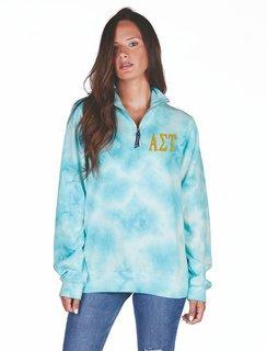 Alpha Sigma Tau Crosswind Tie-Dye Quarter Zip Sweatshirt