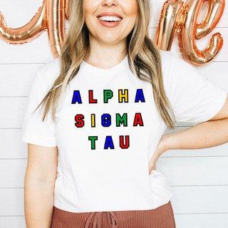 Alpha Sigma Tau Custom Colors Embroidered Nickname Tee